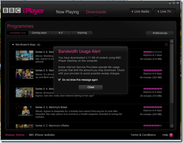 BBC IPlayer warning